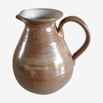 Pichet boule en céramique beige vernissée, vintage années 60/70
