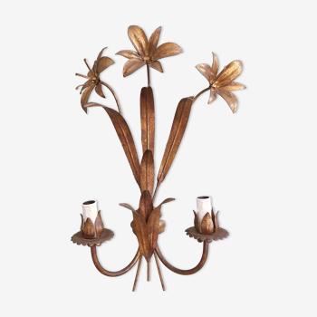 Applique en métal doré décor de fleurs années 70