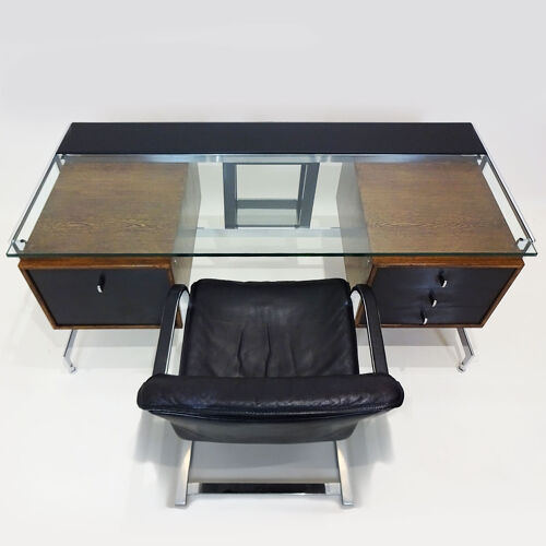 Bureau exécutif sur mesure des années 1960 avec chaise assortie par Preben Fabricius et Jørgen Kastholm