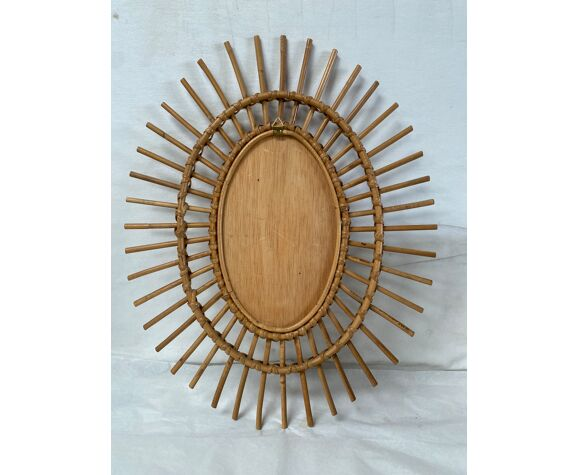 Miroir soleil rotin oval vintage 47x58cm