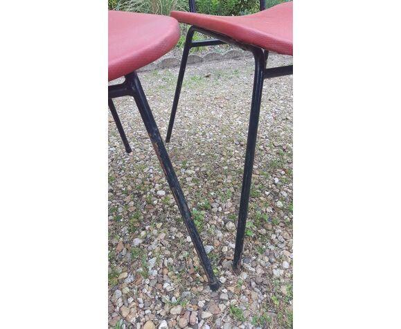 Lot de chaises 4 vintage skaï rouge