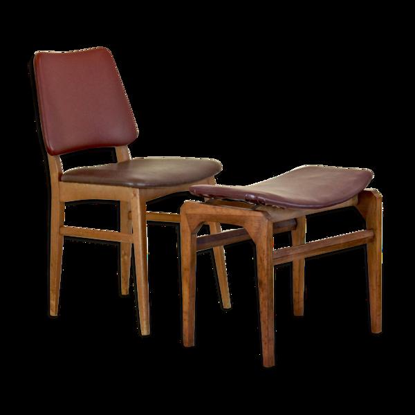 Selency Chaise et repose-pied scandinave des années 1950