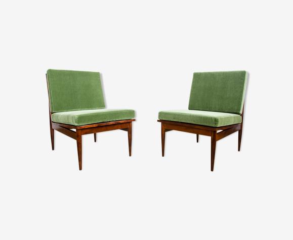 Paire de fauteuils verts du milieu du siècle 1965