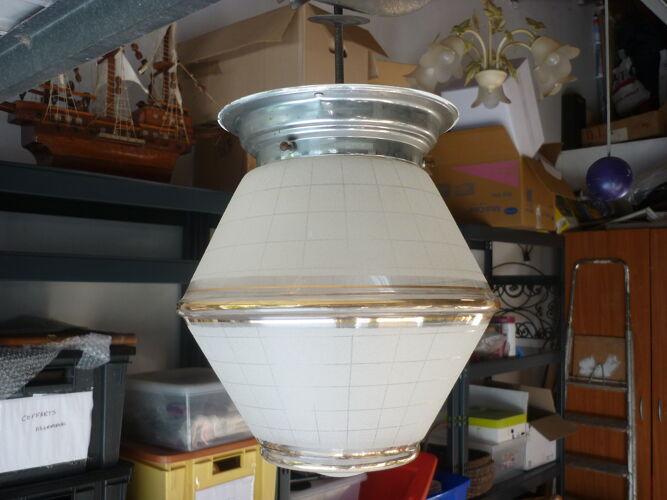 Suspension globe en verre granité