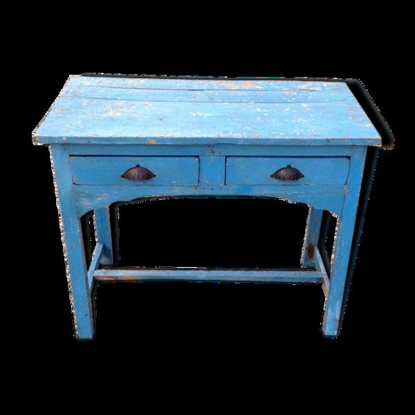 Selency Indian blue vintage wooden table