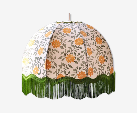 Lampshade-day Dome italian low scallop with fringe cherry blossom pattern