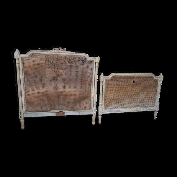 Ancien lit style Louis XVI avec cannage