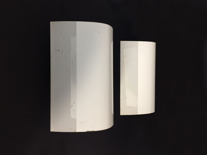 Pair of white metal wall light by Falkenbergs Belysning Sweden. Year 60