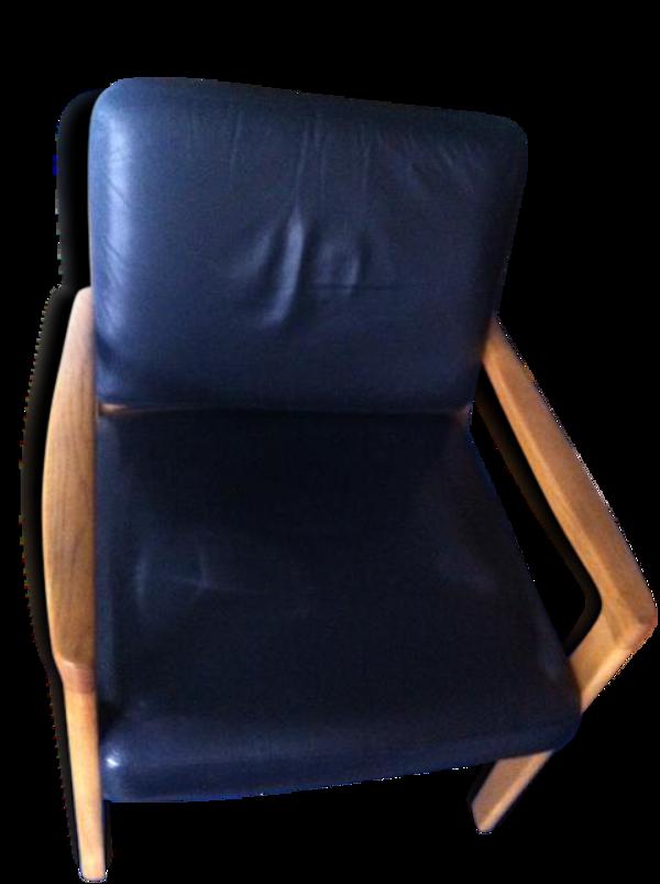 Selency Lot de deux fauteuils en cuir noir et bois
