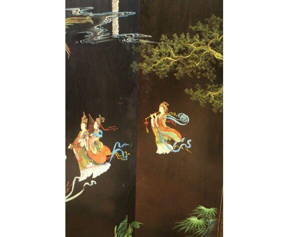 Paravent 4 feuilles laque de coromandel Chine fin 19e début 20e