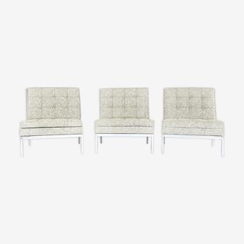 """Lot de 3 fauteuils Florence Knoll """"modèle 65"""" Circa 1960"""