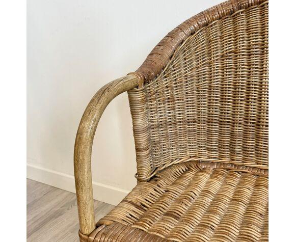 Ensemble canapé et fauteuil en rotin pour enfant