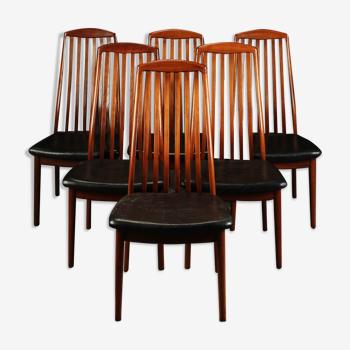 Set de 6 chaises design danois années 1960 en teck massif et cuir noir