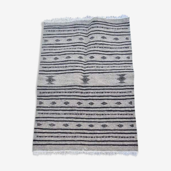 Hand-made grey and black carpet in pure wool  - 110x73cm