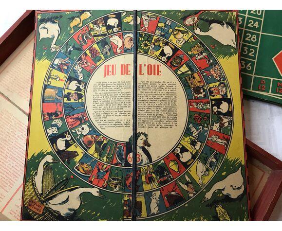 Jouet ancien différents jeux de société dans mallette années 1960