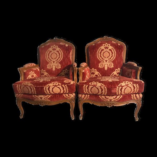 Selency Paire de bergères de style Louis XV