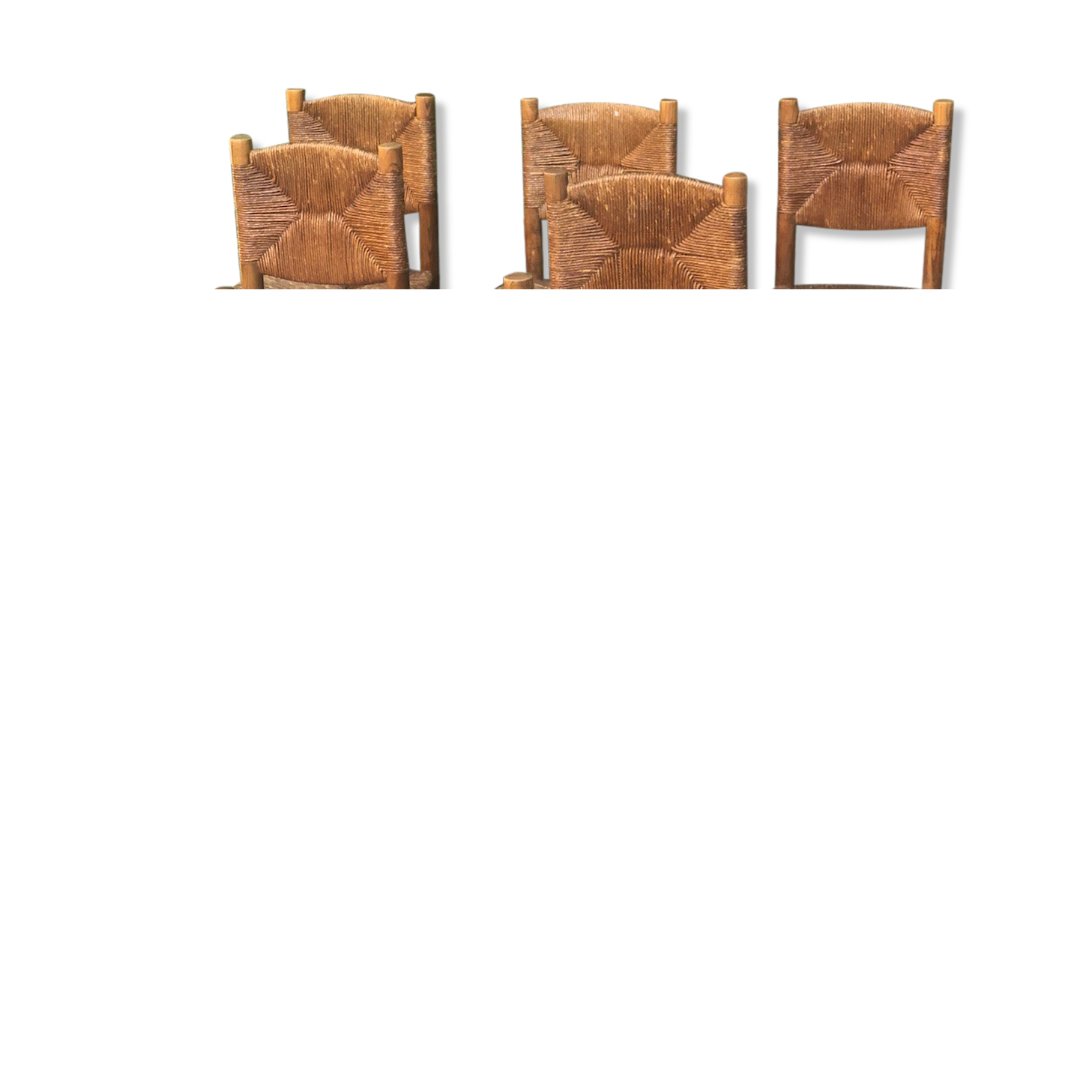 Ensemble de 6 chaises Charlotte Perriand  édition Blanchon 1950
