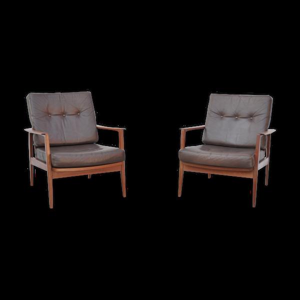 Paire de fauteuils de Wilhelm Knoll édition Knoll Antimott en teck