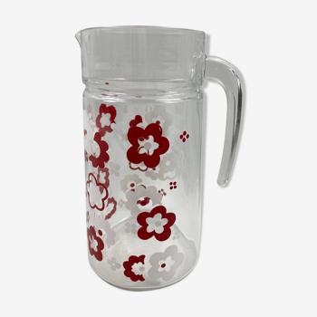 Carafe en verre motifs fleurs rouges et blanches