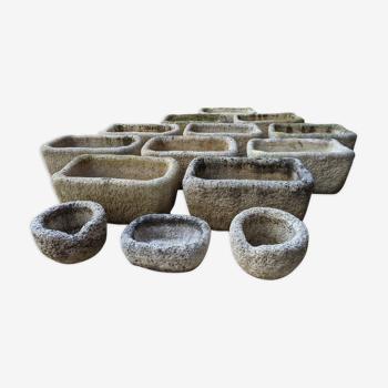 Lot de jardinières en pierre reconstituée La vieille jarre