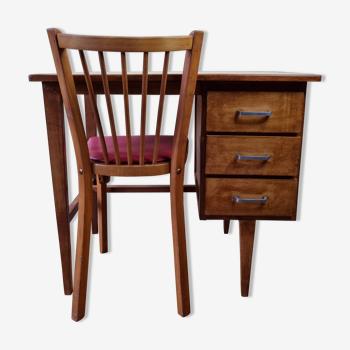 Ensemble chaise Baumann et bureau années 50-60