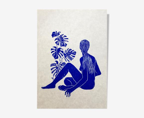 Linogravure, femme