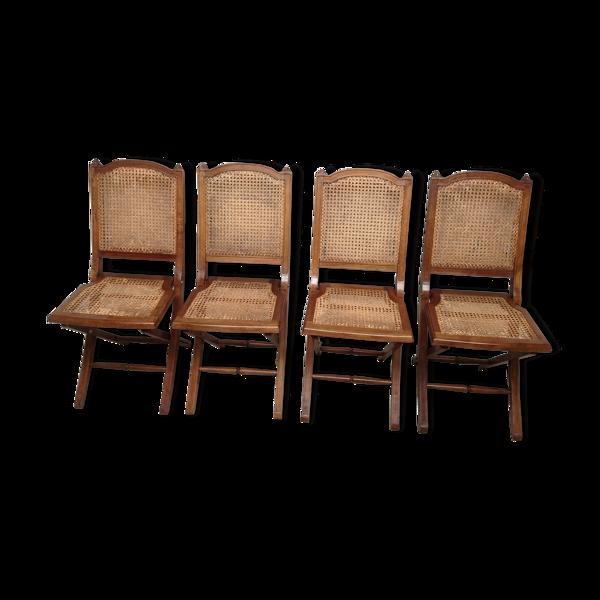 4 Chaises pliantes bois et cannage