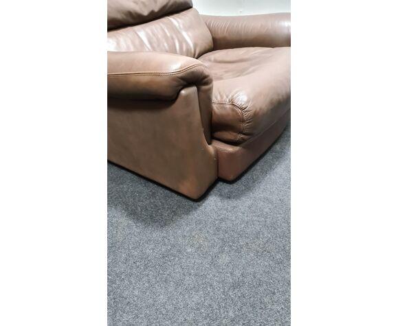 Fauteuil Rolf Benz en cuir brun vintage