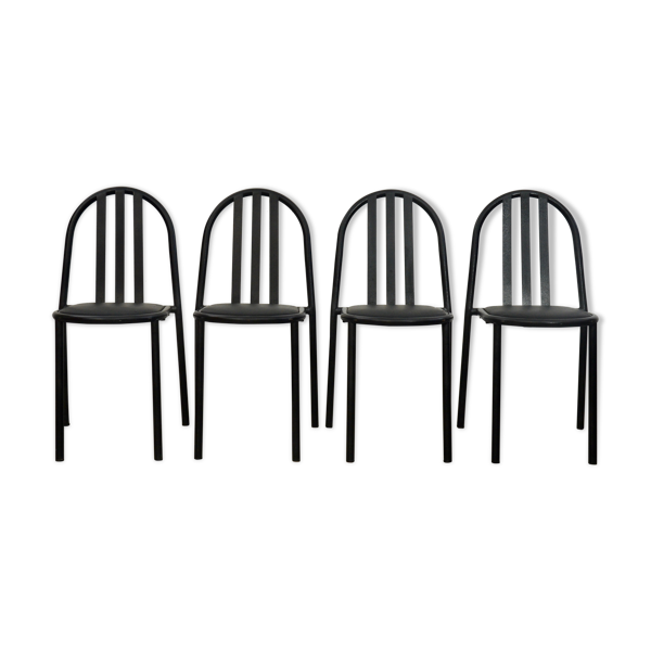 Selency Set of four black dining chairs by Robert Mallet Stevens