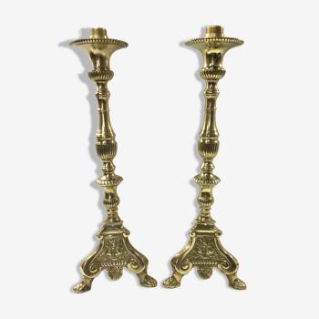 Paire de lampes pique cierge en bronze