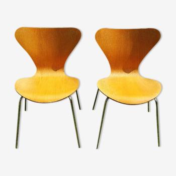 Paire de chaises Arne Jacobsen Fritz Hansen ed. 1983