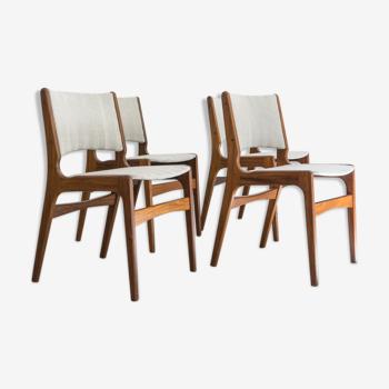 Ensemble de quatre chaises par Erik Buch pour Anderstrup M'belfabrik, Danemark des années 1960