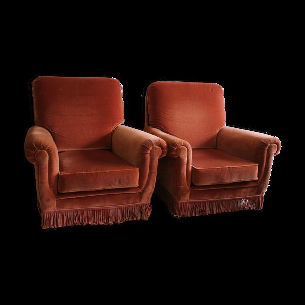 Paire de fauteuils bergères roses
