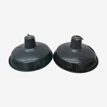 2 suspensions industrielles emaillees 31 cm