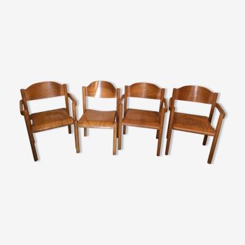 Set de quatre fauteuils vintage empilables  1980