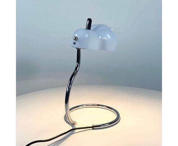 """Lampe de bureau Blanche """"Topo"""" par Joe Colombo pour Stilnovo, 1970"""