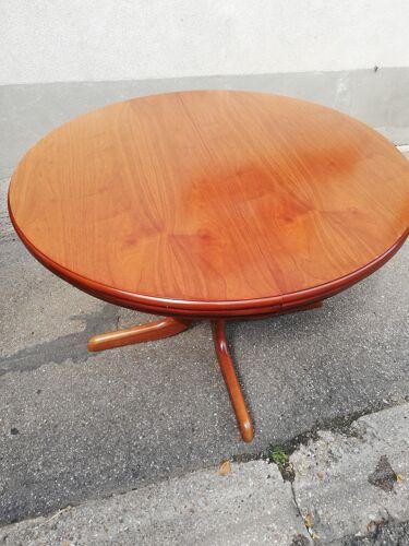 Table ronde vintage à rallonge intégrée