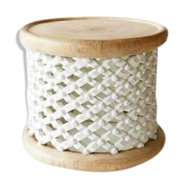 Selency Tabouret en bois blanc et marron naturel ou tabouret bamileke ou table basse