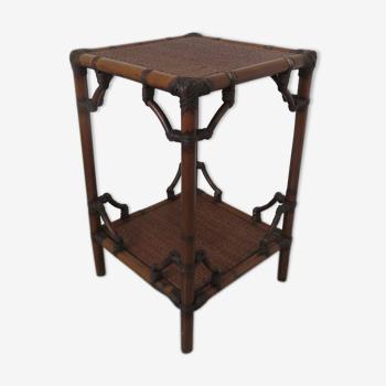 Table d'appoint en rotin bambou art deco années 40 50