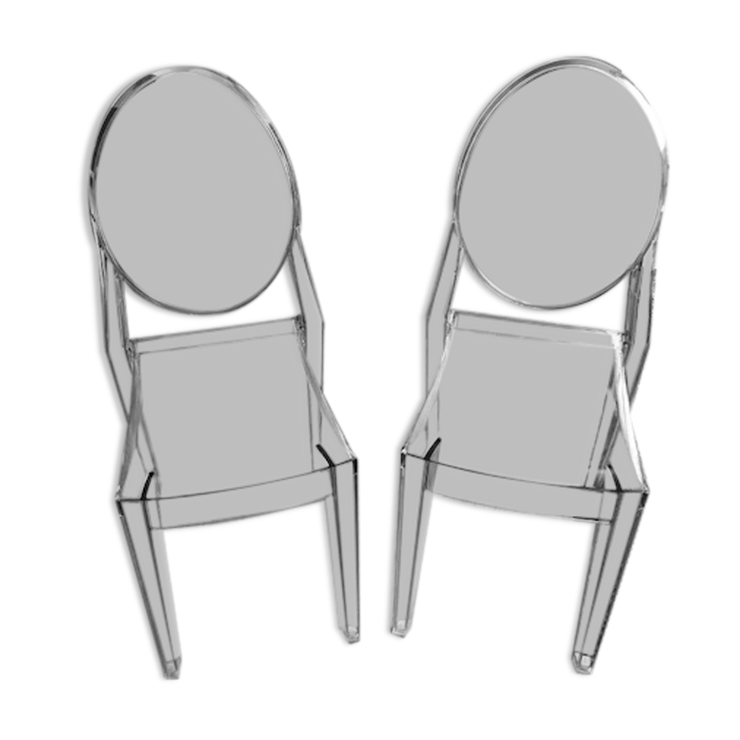 Chaises Victoria Ghost de Philippe Starck, édition Kartell