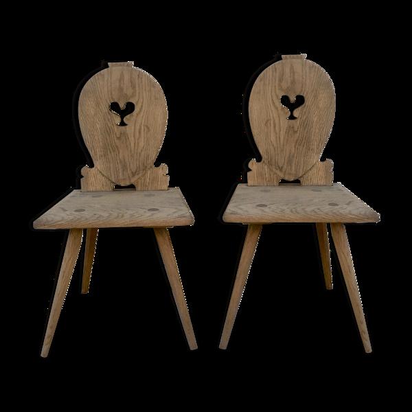 Paire de chaises vintage bois