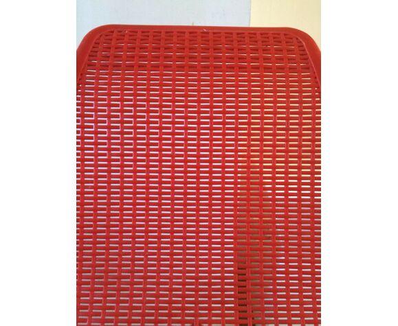 Fauteuil plastique tressé et acier design années 50 - 60