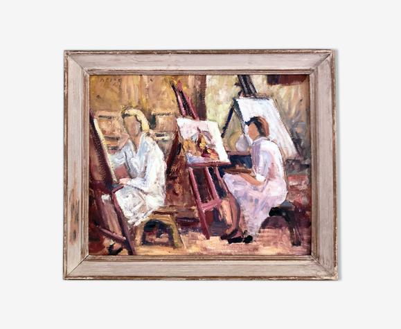 Tableau huile post impressionniste sur carton, scène d'atelier