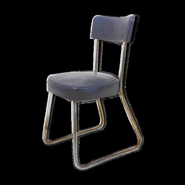 Chaise Ronéo en skai gris