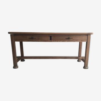 Table de ferme en chêne et ses 2 tiroirs - XXe siècle