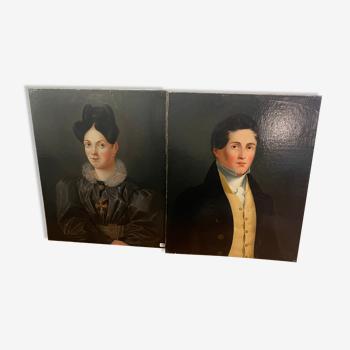 Duo de portraits d'un jeune couple peinture sur huile