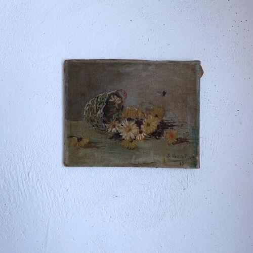 Tableau nature morte bouquet de marguerites