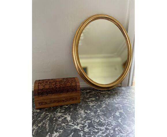 Miroir doré ovale 1960 31x39cm