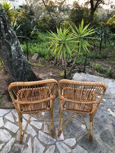 Paire de chaises rotin années 60