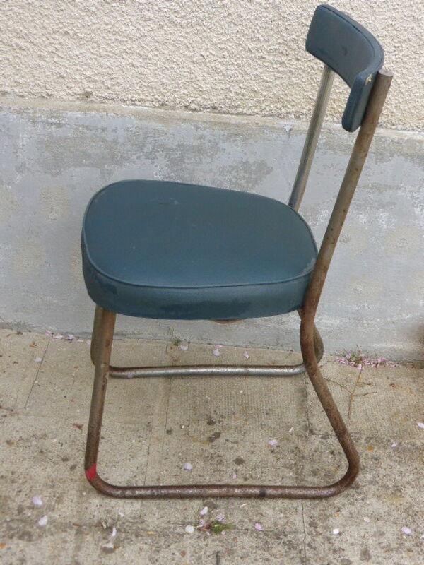 Chaise de bureau administration vintage 1950 en skai bleu canard, Magni Paris